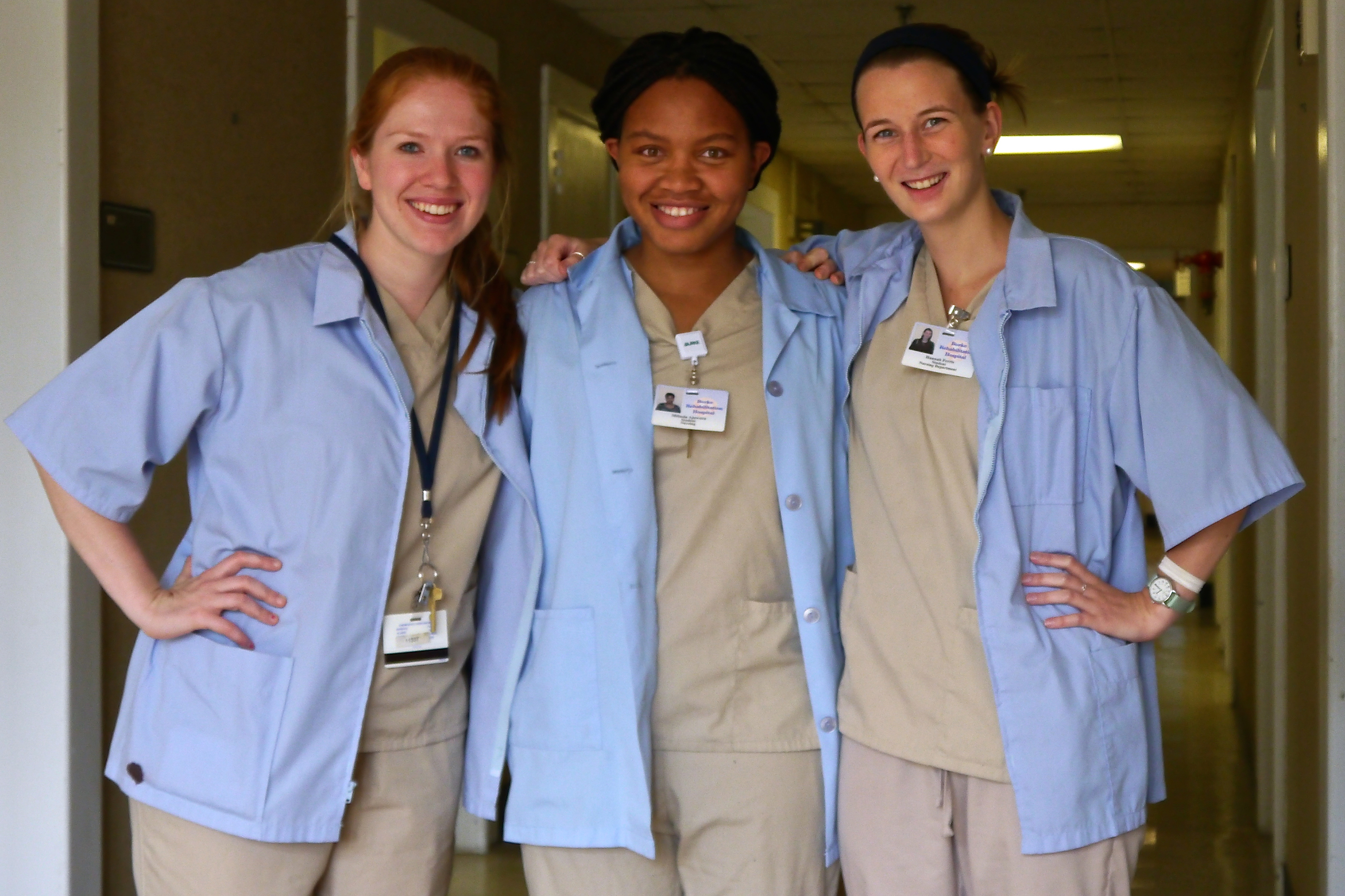 Kate Getman '19, Milinda Ajawara '16 and Hannah Ferris '16 at Burke Rehabilitation Hospital.