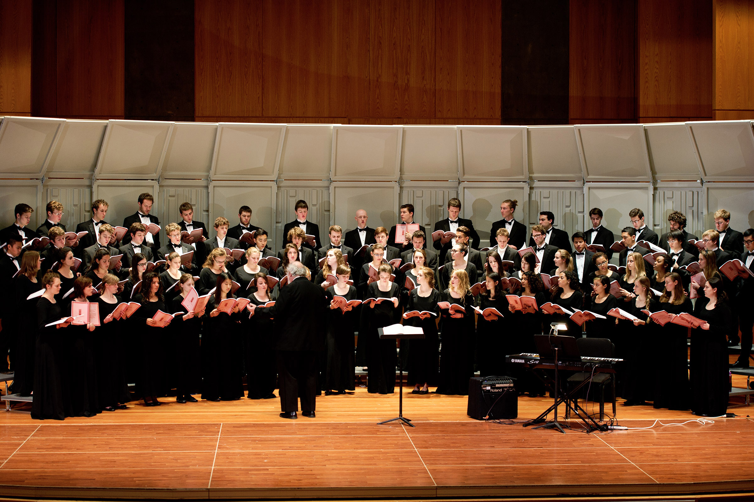 The choir, under the direction of G. Roberts Kolb, performs in Wellin Hall.
