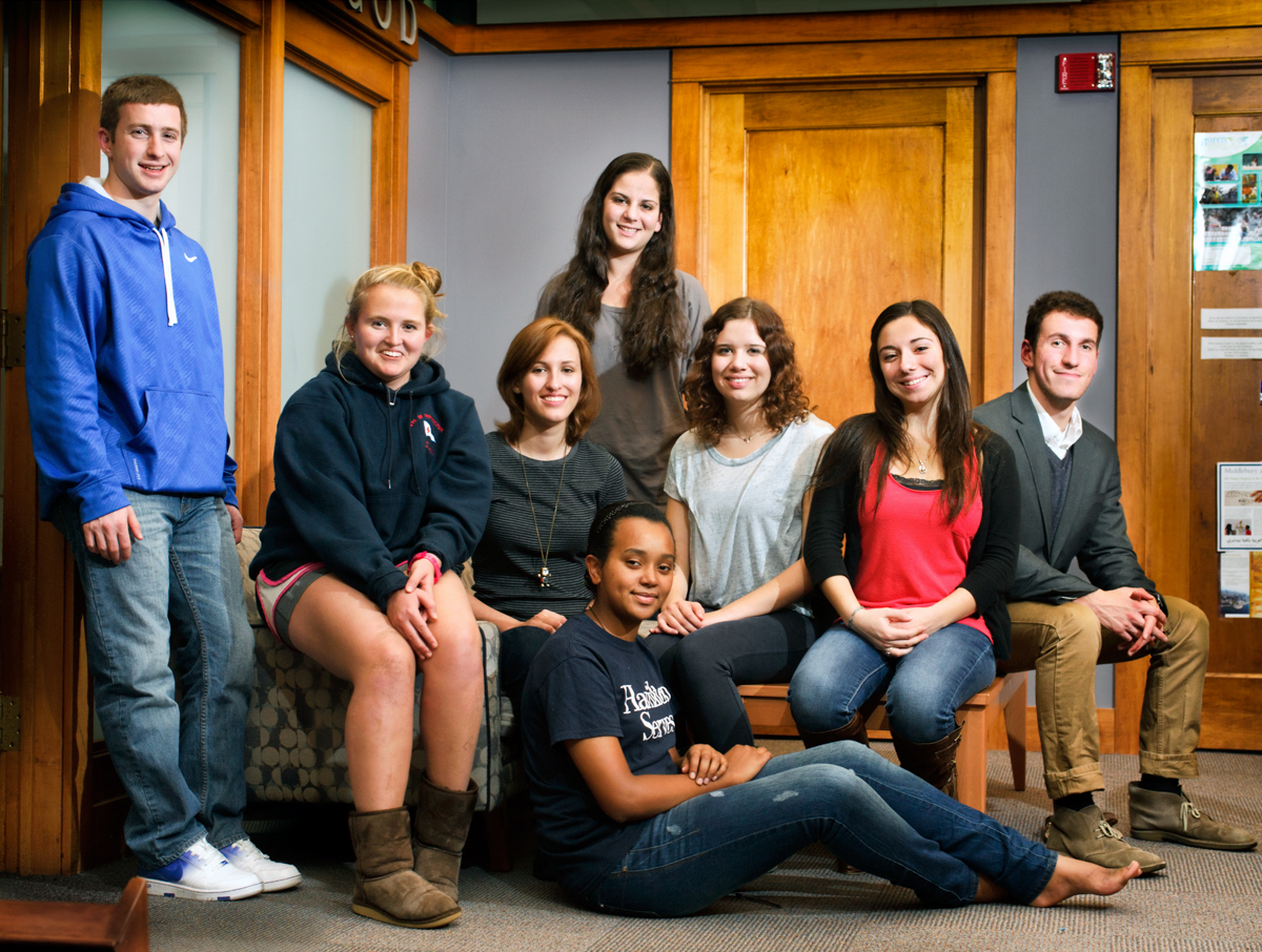 Left-to-right sitting: Sarah Graves, Svitlana Gura, Kate Cieplicki, Angela Pavao, John Rufo; standing Max Newman, Emily Goldberg. On floor Tsion Tesfaye.
