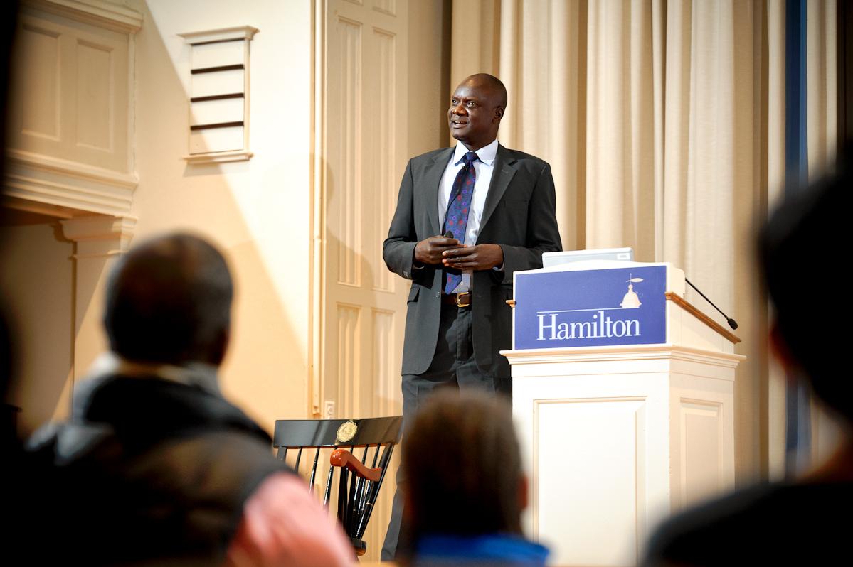 Former Lost Boy of Sudan John Dau speaks in the Hamilton Chapel on Feb. 3.