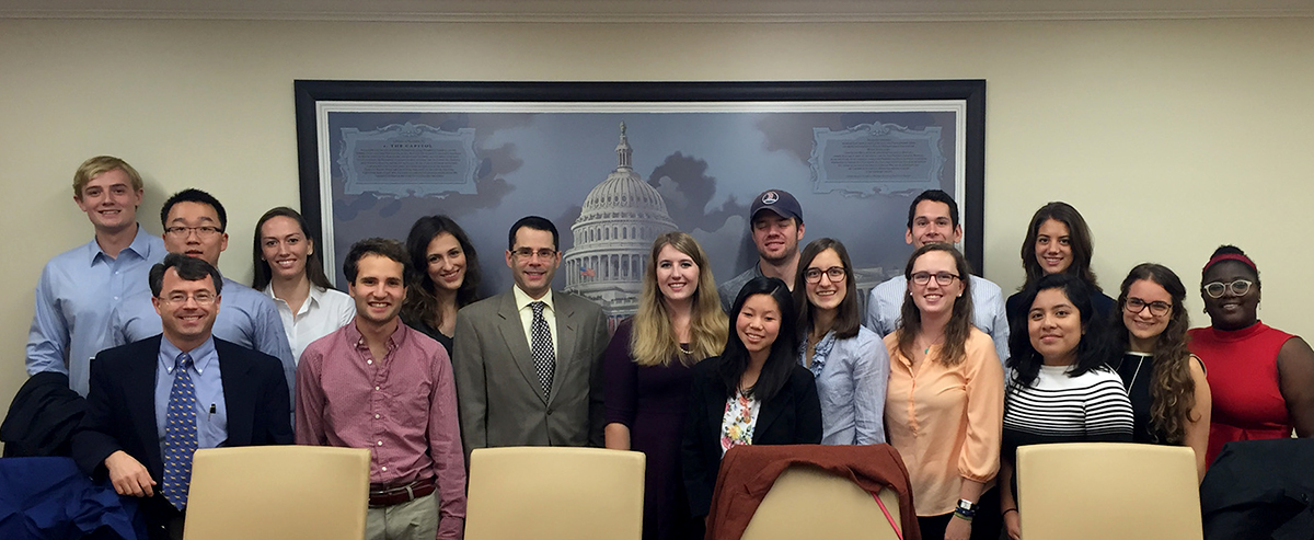 Students in the Washington DC program with Professor Rob Martin and the American Enterprise Institute's Michael Auslin.