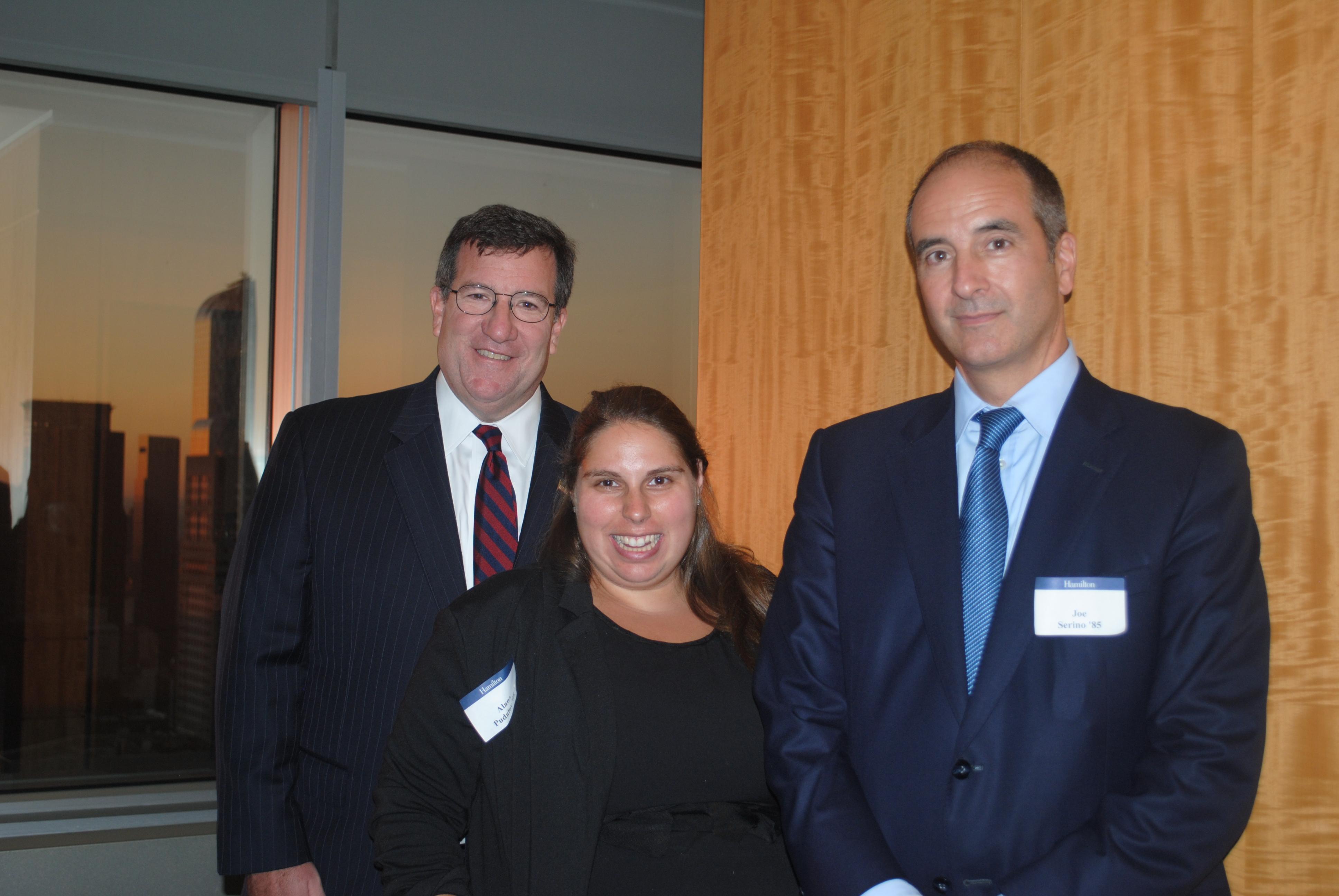From left to right: Dan Connolly '85, P'18; Stacy Sadove '07; Joe Serino '85