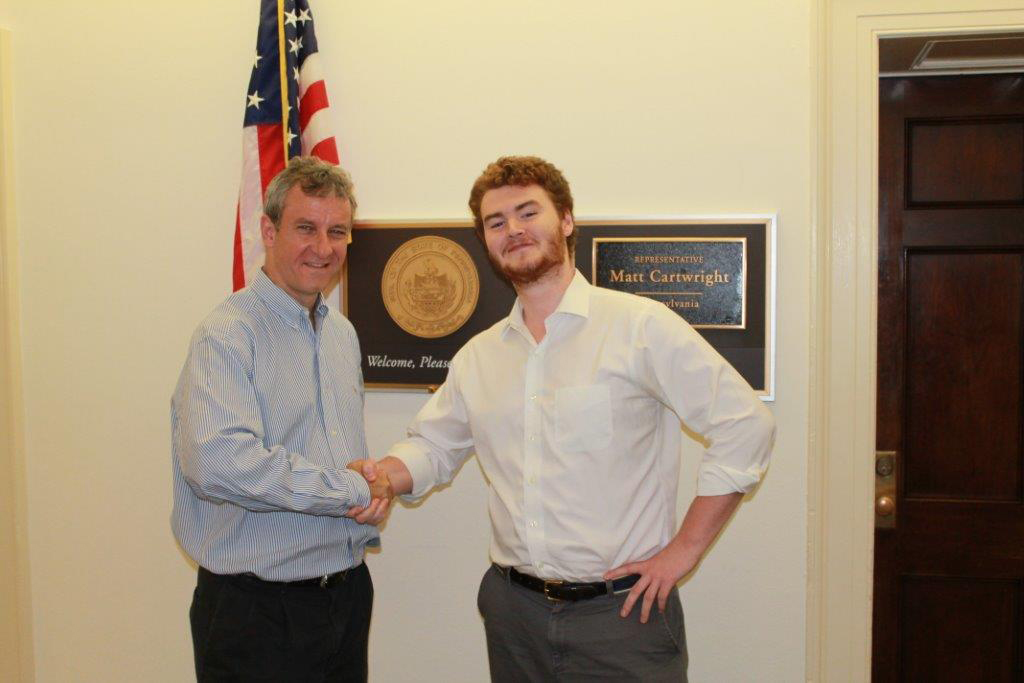 Matt Cartwright '83 and Max Flath '16 in Cartwright's Washington, D.C. office.