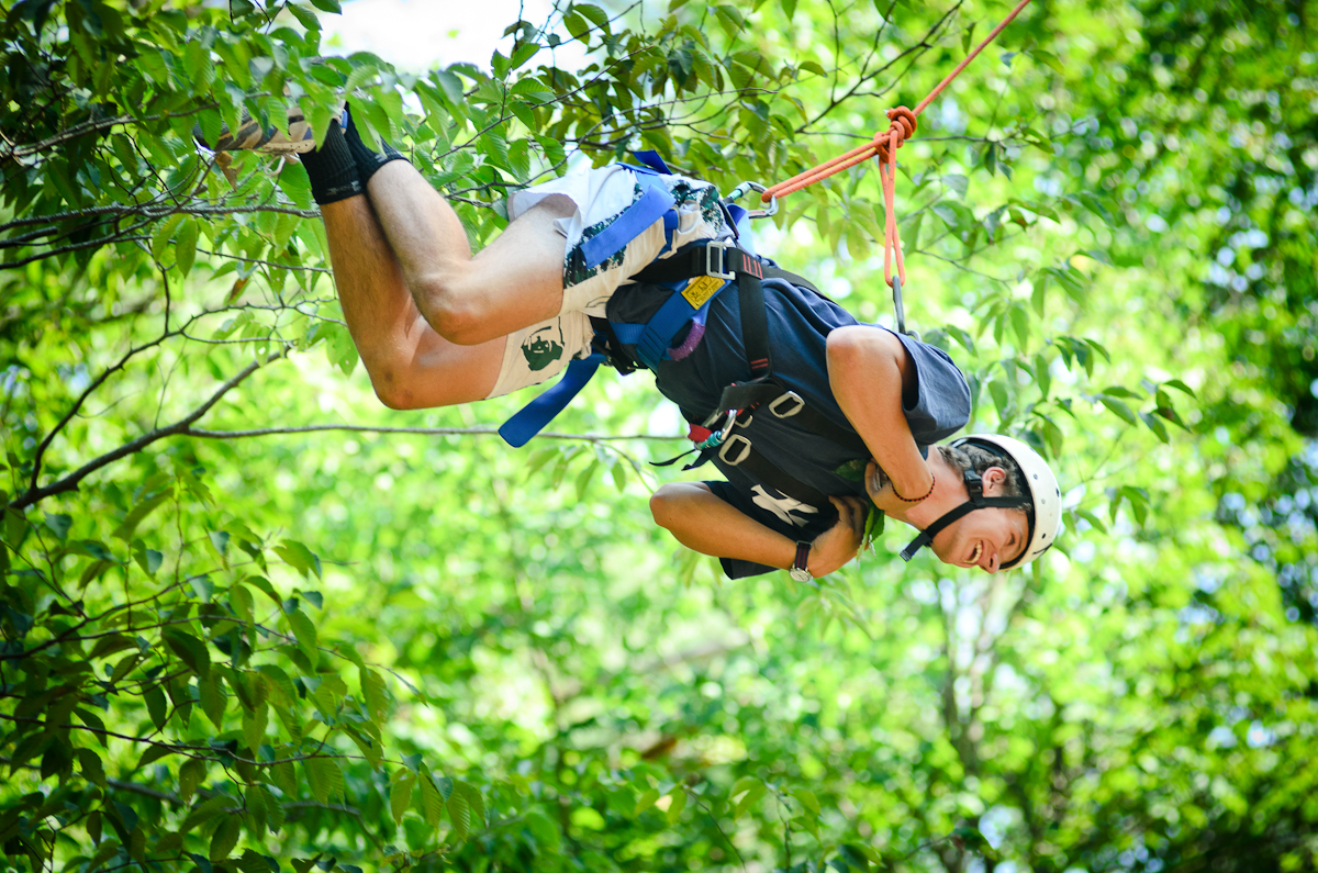 Gordon Bogardus '16 demonstrates a dangling participle during Adirondack Adventure.