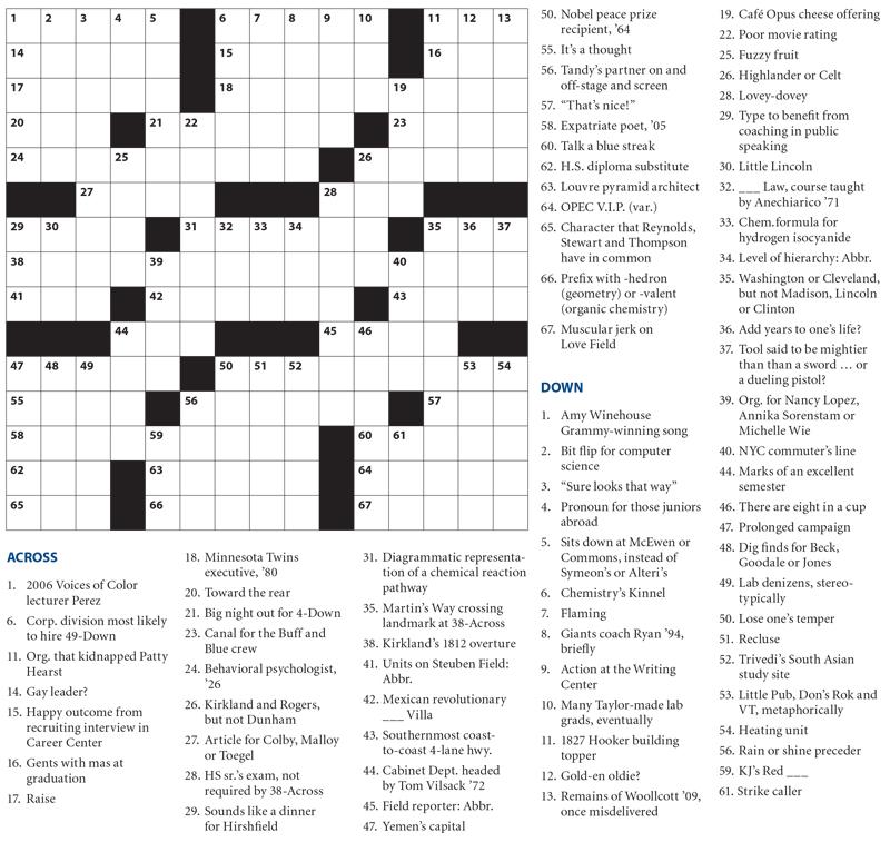 Crossword Puzzle - Crossword Puzzle - Hamilton College