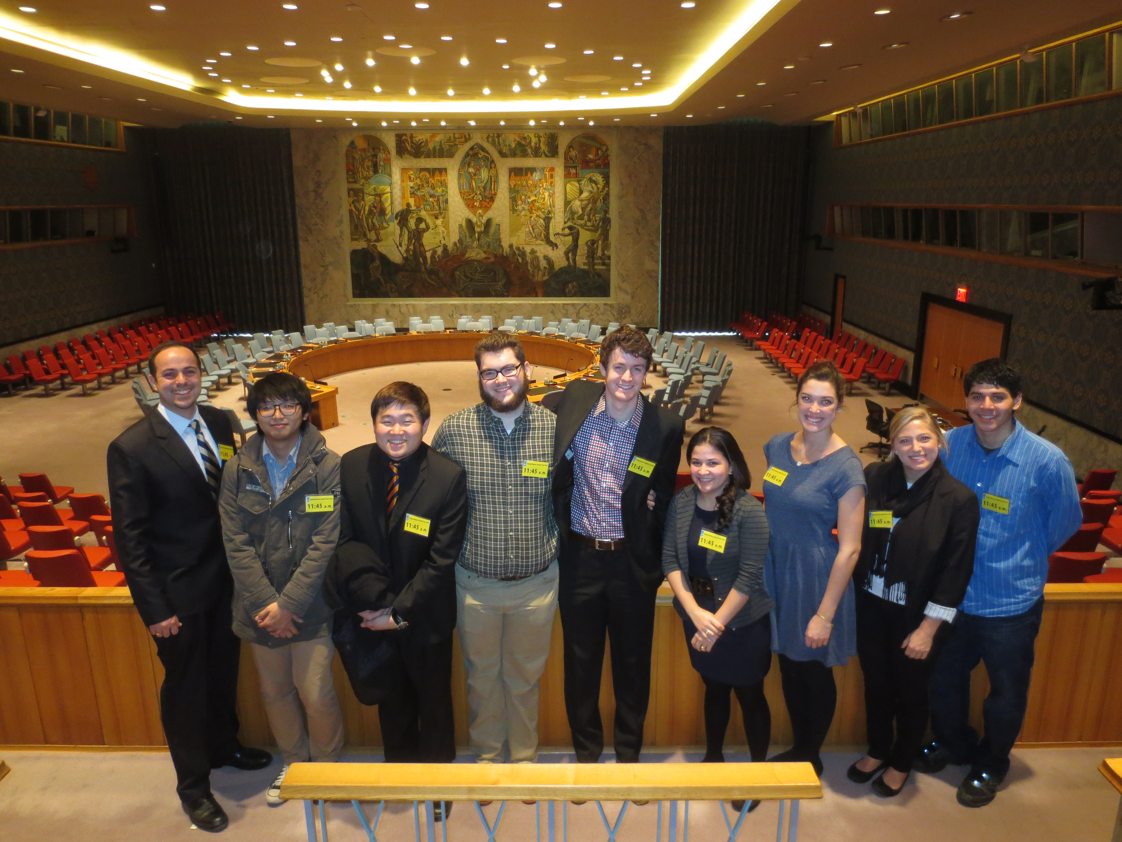 In the UN Security Council chamber  Prof. Calin Trenkov-Wermuth, Won Seog Chung, Mathew Ha, Scott Hancox, Daniel O'Kelly, Marcela Peguero, Nell Goddard, Meg Alexander and Miguel Rosado.