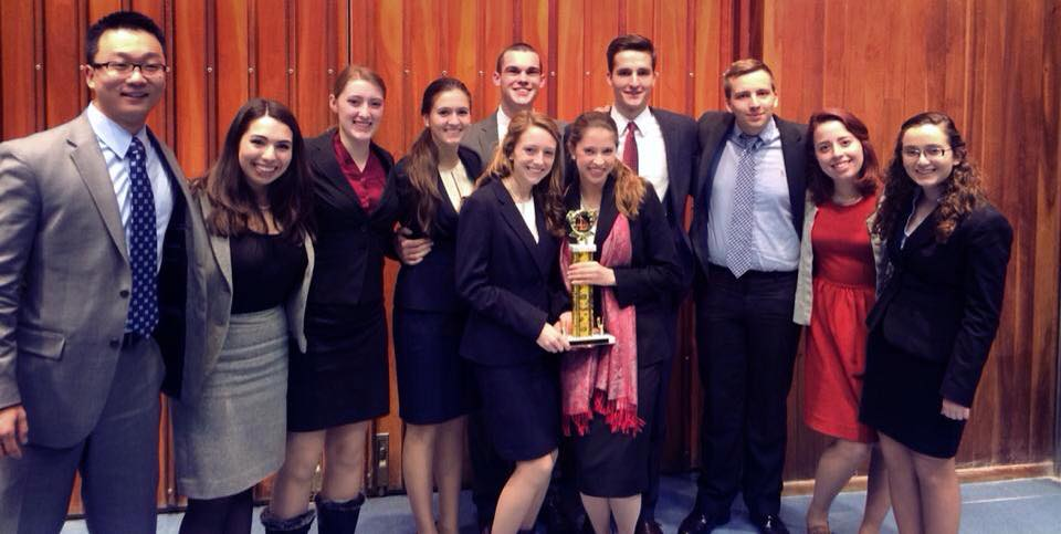 Hamilton's victorious Mock Trial team at the University of Rochester.