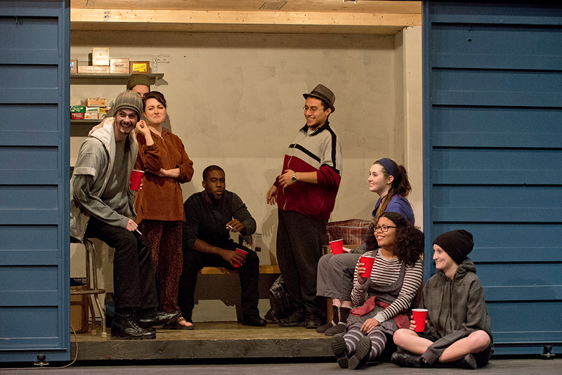 Keven Herrara was in the cast of the Theatre Department's 2013 productuion of The Good Person of Szechwan. From left are Charles Wilson, Anna Jastrzembski, Torian Pope, Kevin Herrera, Allie Schuette, Ines Santana, Alex Crivelli.