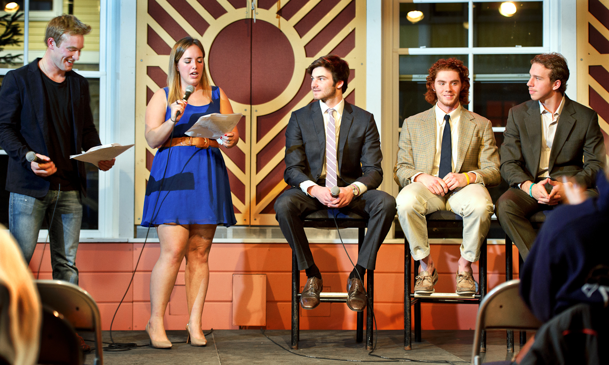 Emcees Dominic Jancaterino '15 and Dewi Caswell '14 ask questions to Charlie Fennel '17, Seamus O'Neill '17 and Brad Smelstor '17 during the Hockey Date Auction.