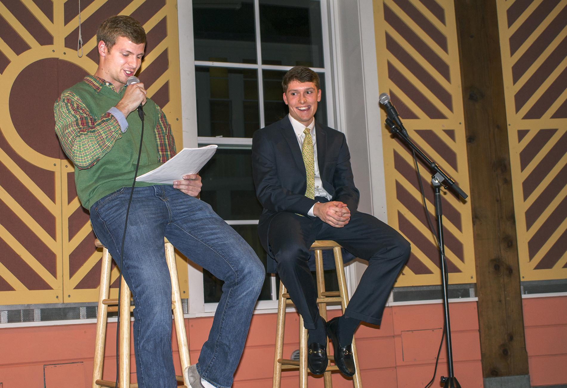 Host Truman Landowski '17 questions Tim Nowacki '18 at the auction.