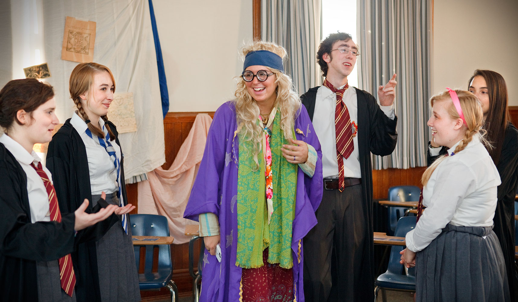 Hamilton students dress as Harry Potter characters for the annual Hogwarts at Hamilton event.