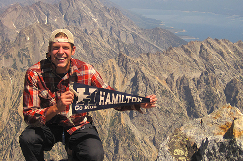 Jacob Sheetz-Willard '12 atop the Grand Teton mountain.