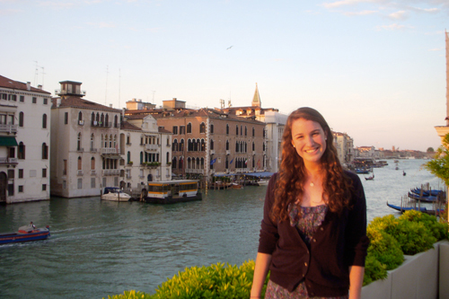 Kenley Stark '11 in Venice at the Peggy Guggenheim Museum, where she interned.