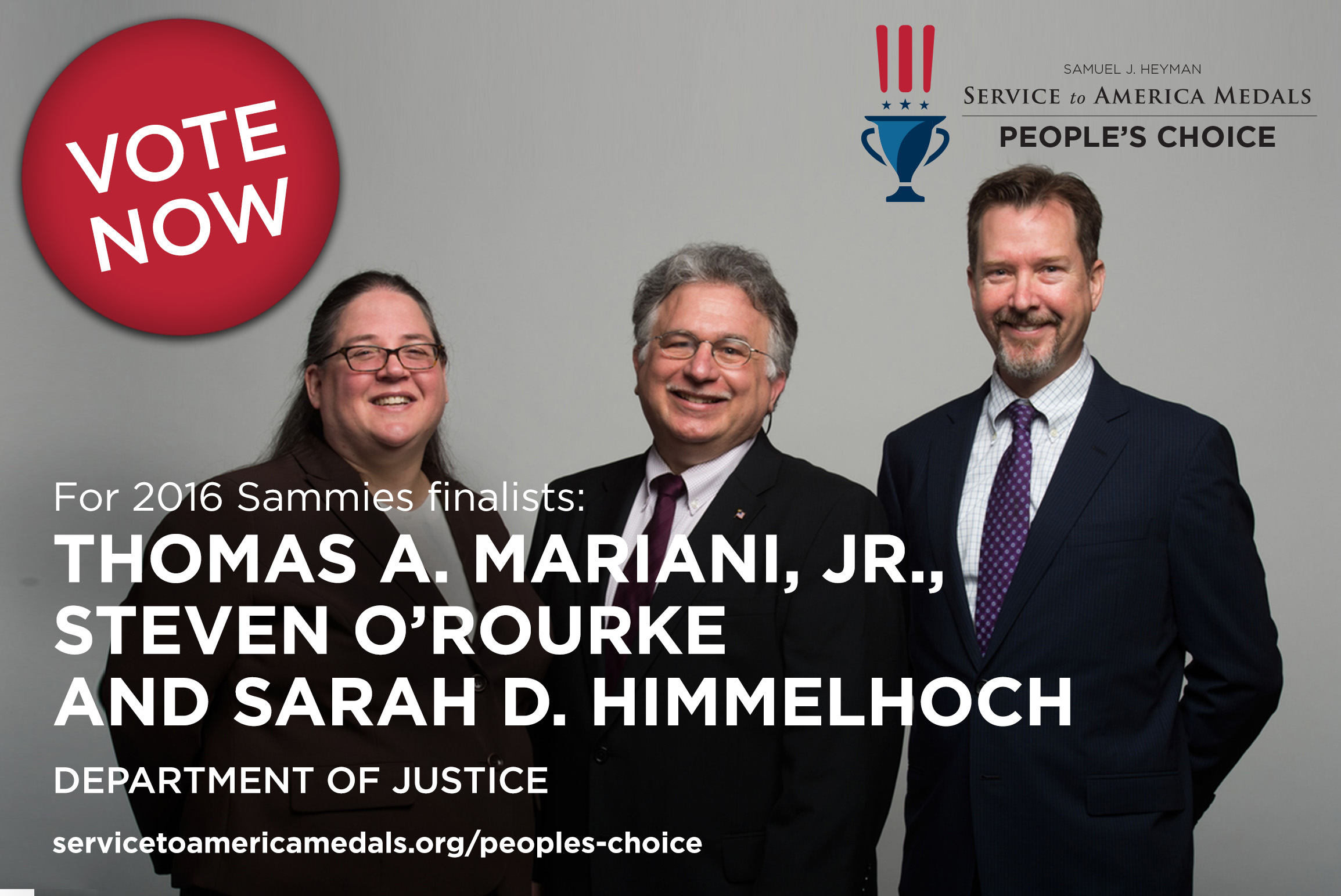 Thomas Mariani '79 with his fellow Justice Department lawyers, Steven O'Rouke and Sarah D. Himmelhoch