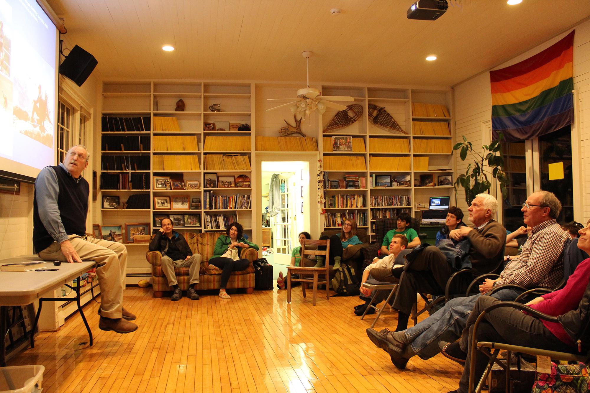 Maurice Isserman, left, talks about his new book <em>Continental Divide</em> in Glen House.