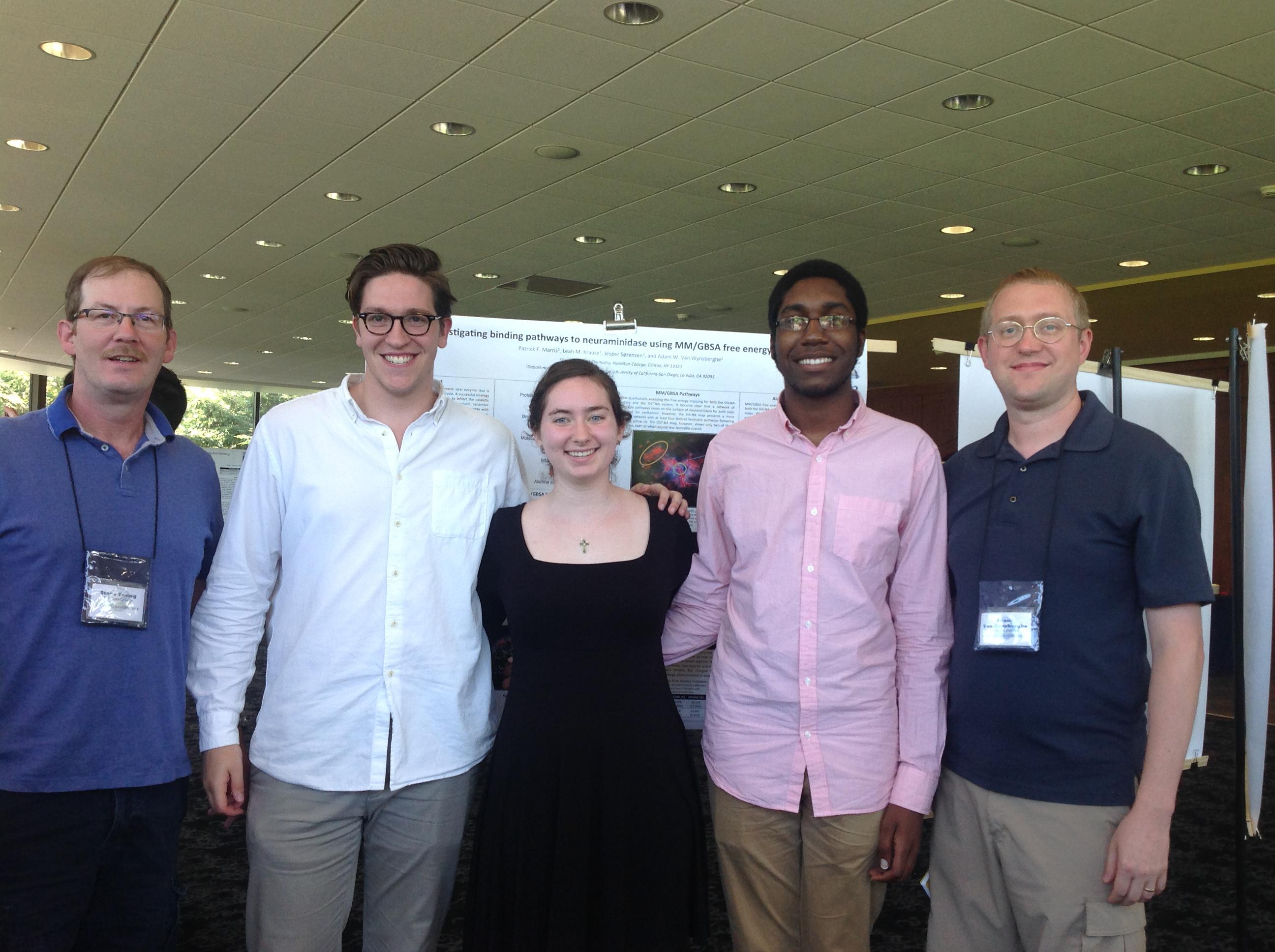 From left; Steve Young, Pat Marris '16, Erin Lewis '18, David Dacres '18 and Prof. Adam Van Wynsberghe,