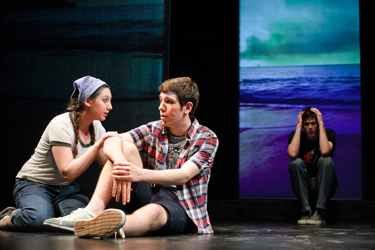 Kelsey Crane '17, Michael Gagnon, '16, and Charlie Wilson '16 (background) in a scene from<em> Dark Play or Stories for Boys</em>.