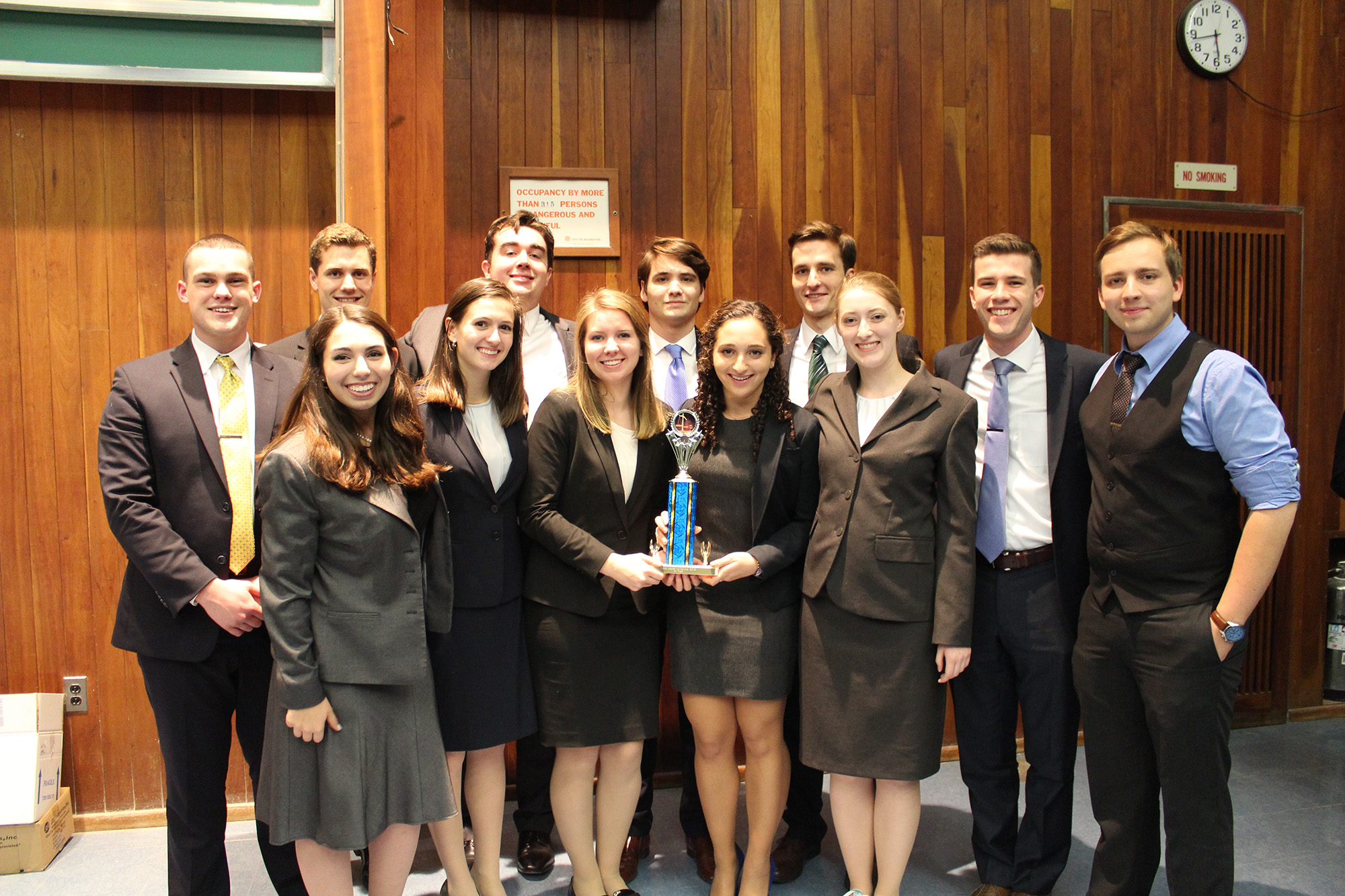 The victorious Mock Trial team at the University of Rochester.