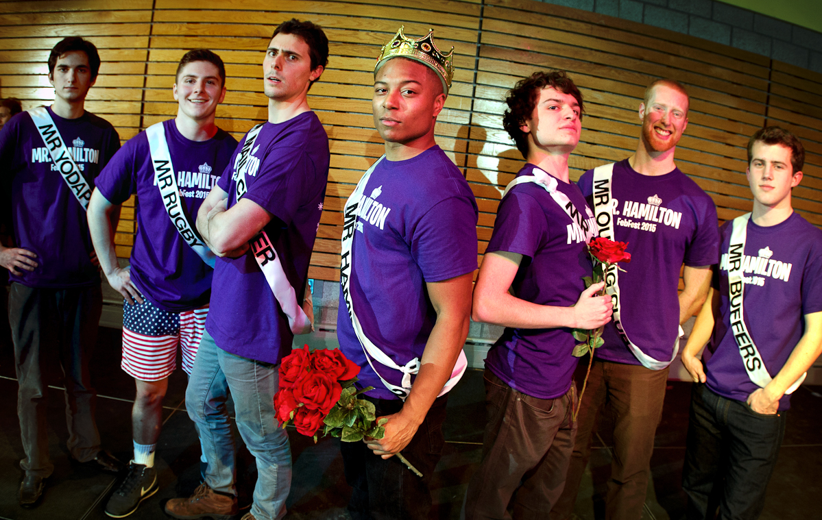 The king and his court after the annual Mr. Hamilton competition in the Annex. From left John Kadlick '18, Chris Lovejoy '18, Jack Young '16, Lashawn Ware '17, Jason Fortunato '17, Zach Dix '15 and Carter Sanders '18.
