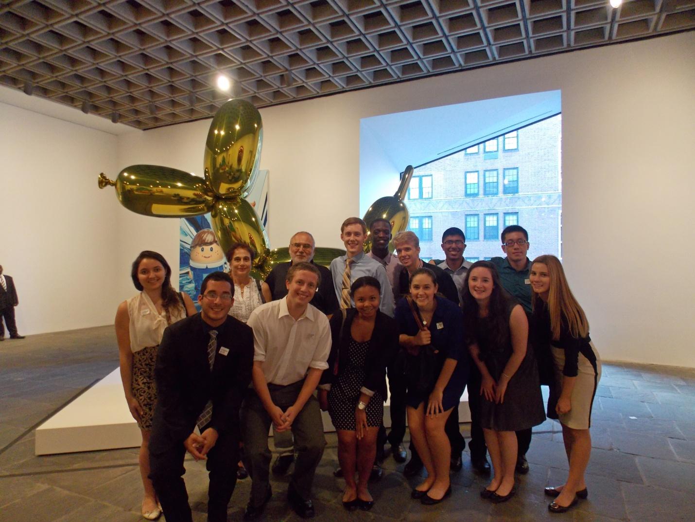 Hamilton NYC Program students at the Whitney Museum's Jeff Koons exhibit.