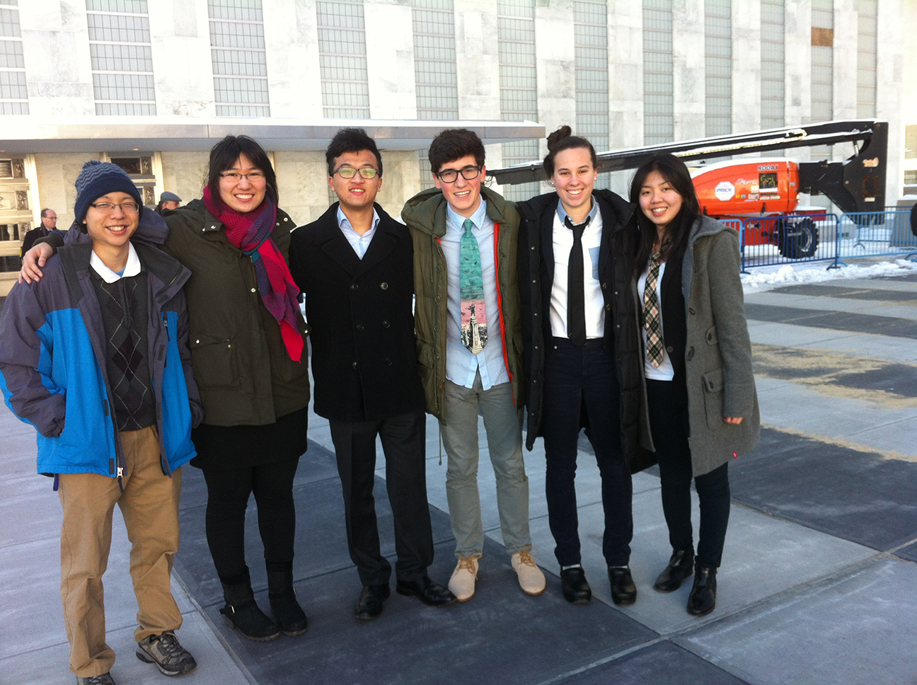 Sterling Xie '16, Jessica Tang '16, Sitong Chen '16, Bennett Glace '16, Phoebe Greenwald '16 and Holly Chen '16.