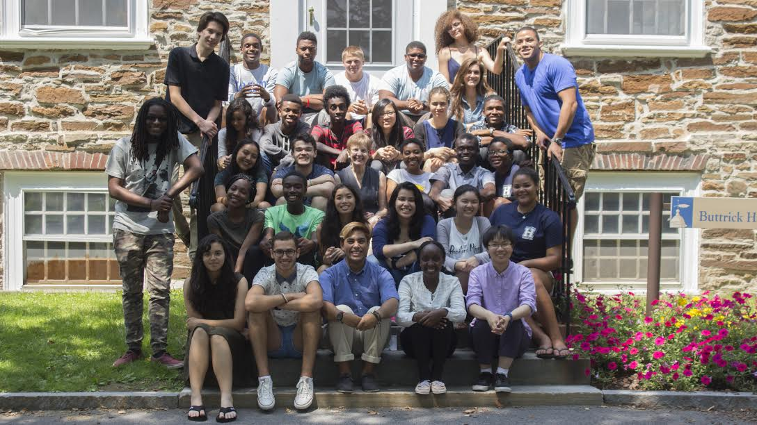 Opportunity Program students gather with President Joan Hinde Stewart on the steps of Buttrick.