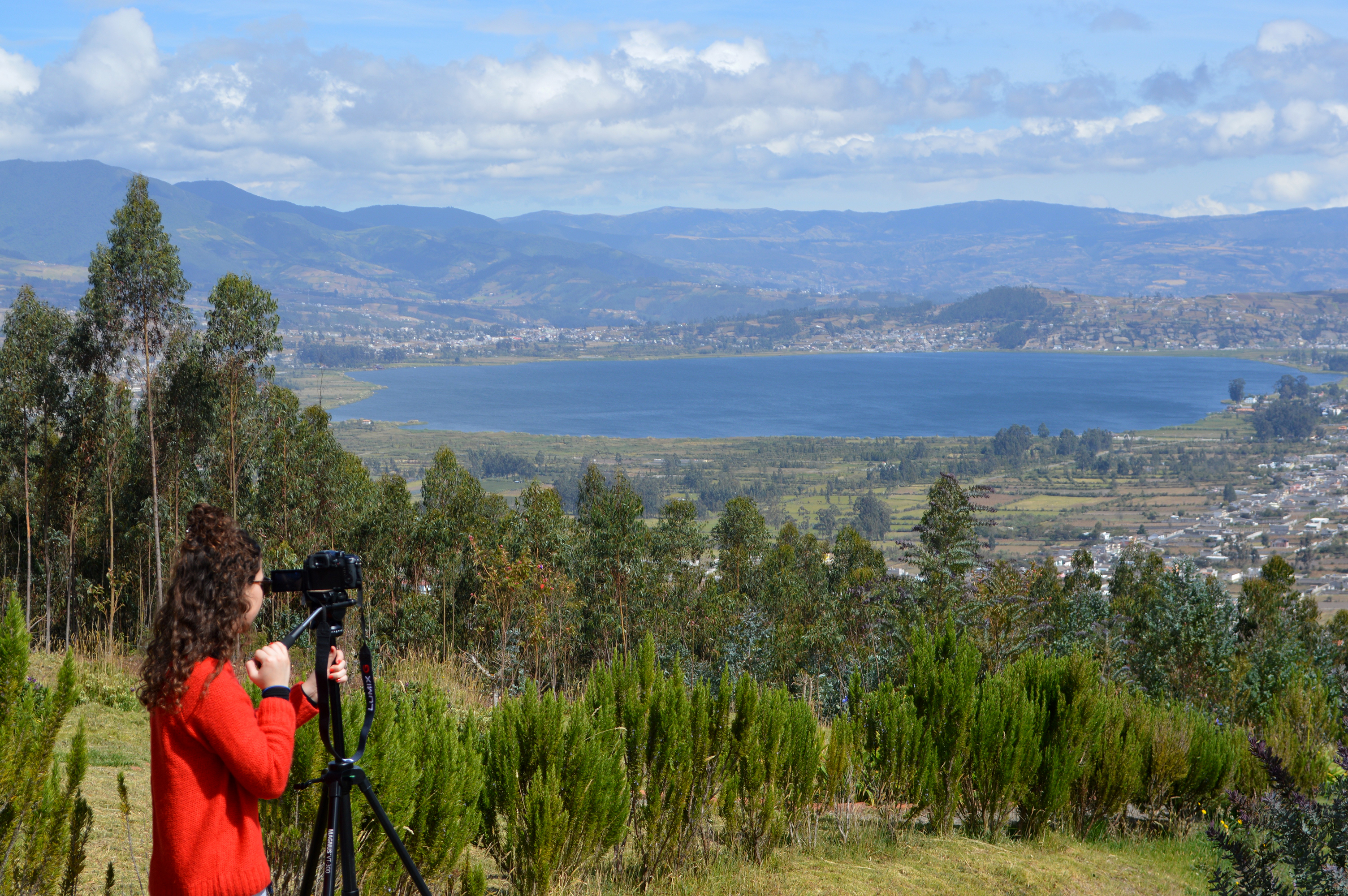Paula Ortiz '18 shoots her film in Otavalo, Ecuador, overlooking Imbabura mountain.