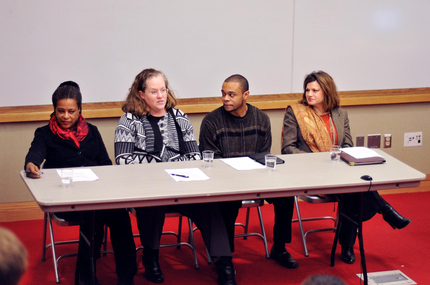 Panelists Cassandra Harris-Lockwood K'74, Dana Hubbard, Kevin Alexander '13 and Anne Lansing.
