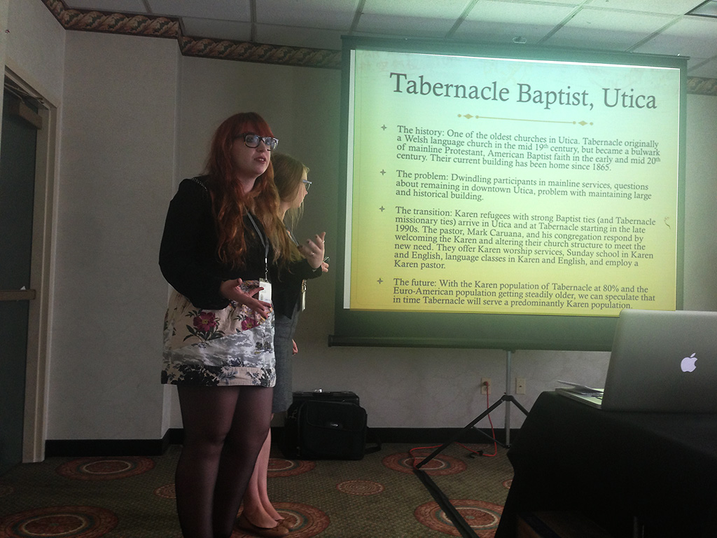 Alison Ritacco '14 and Hannah Grace O'Connell '14 presenting at the conference.