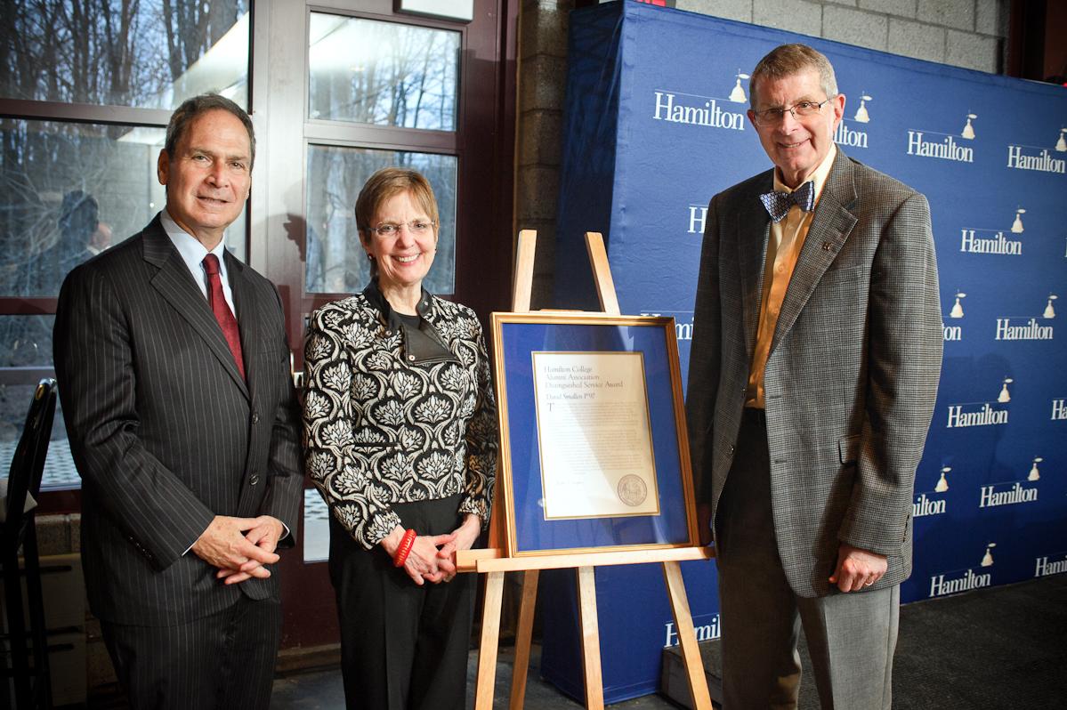 Dave Smallen, P'97, right, with Alumni Association president Gordon Kaye '74 and Hamilton President Joan Hinde Stewart.
