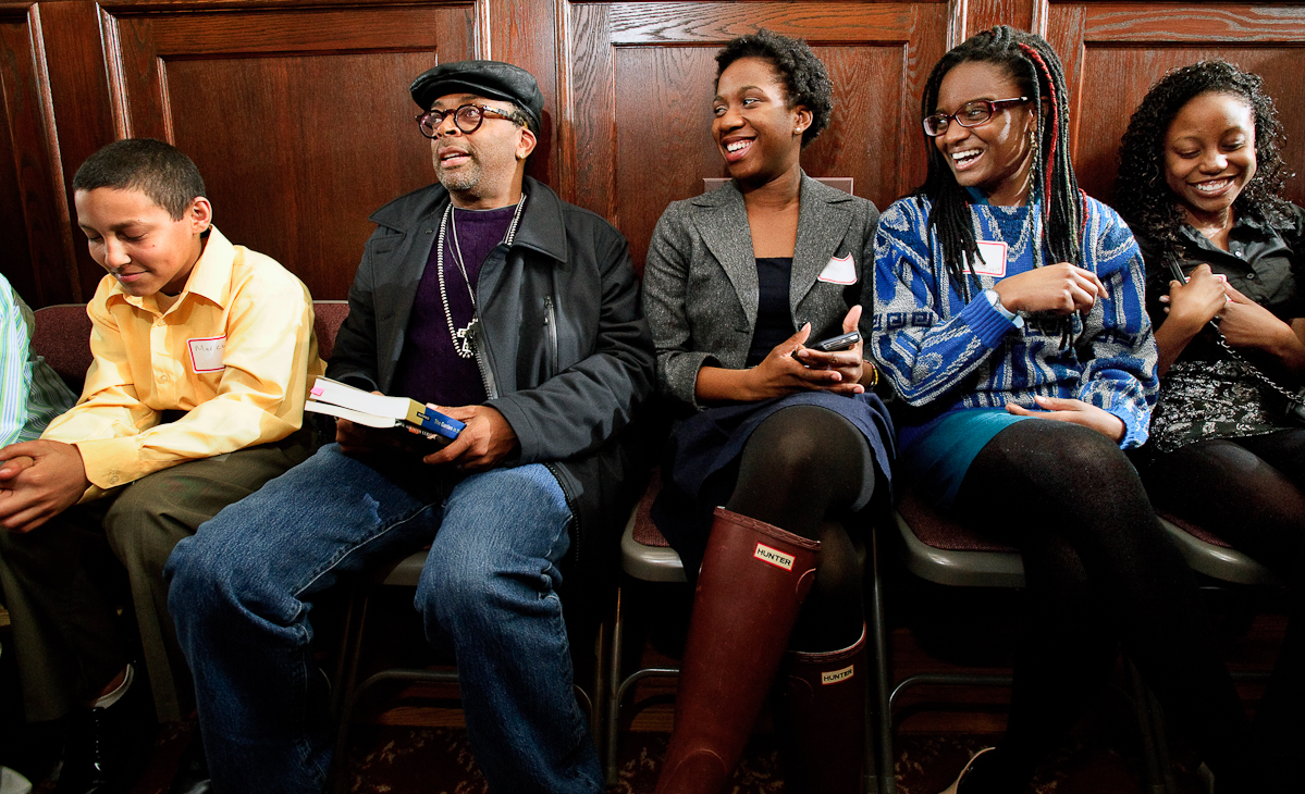 Spike Lee, second from left, visits with Hamilton students before his lecture.
