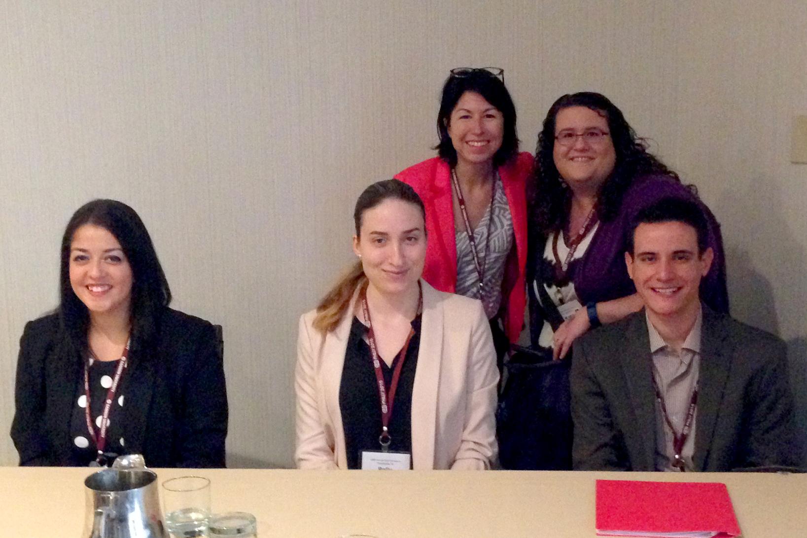 Front from left Zoe Escandon (Ashland University), Parisa Bruce '17, Kevin Anglim '16. Back: Prof.. Kim Field-Springer (Ashland University), Prof. Katie Margavio Striley (UNC Chapel Hill).