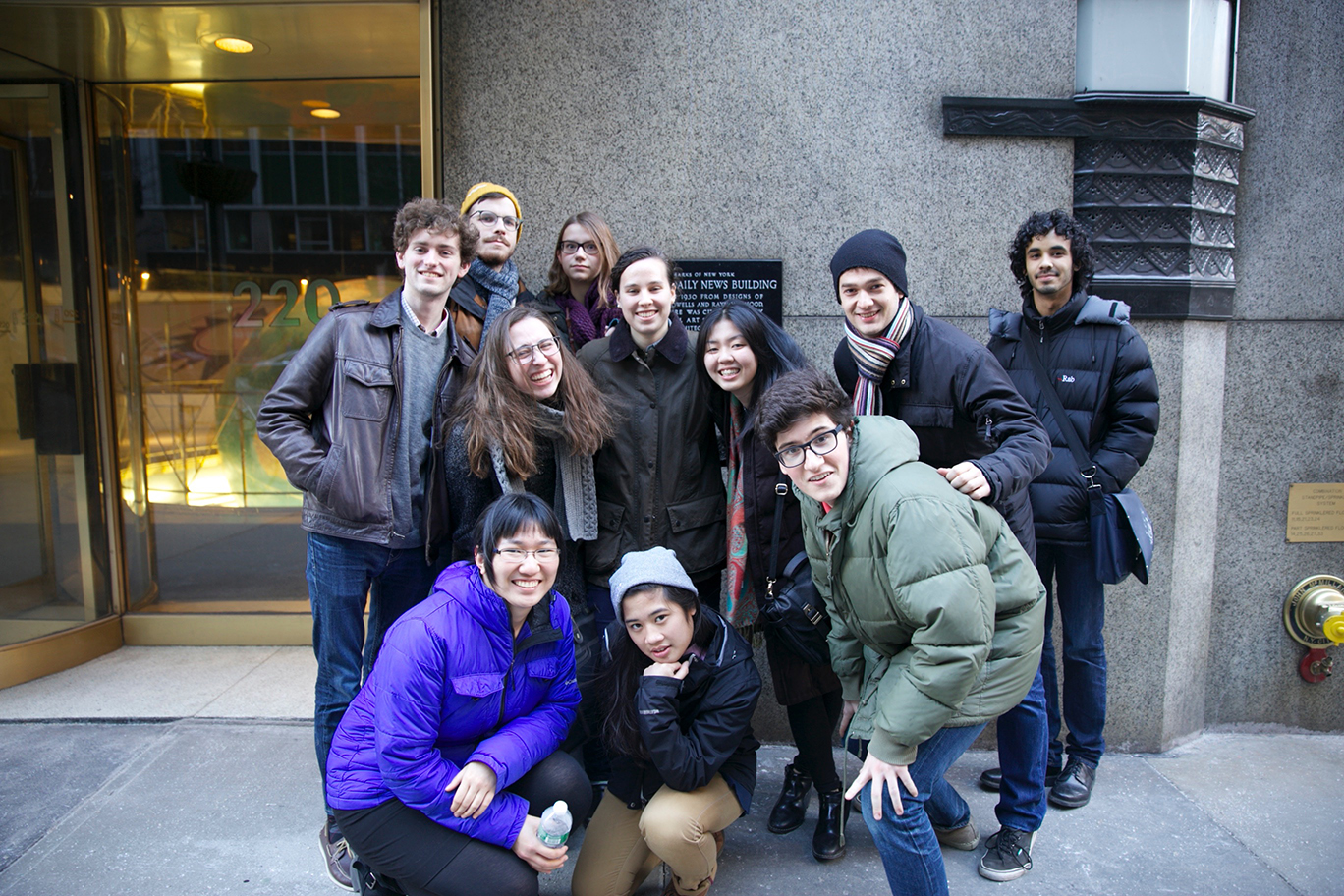 Hamilton students in front of the old Daily News building where Beanstalk offices are located.