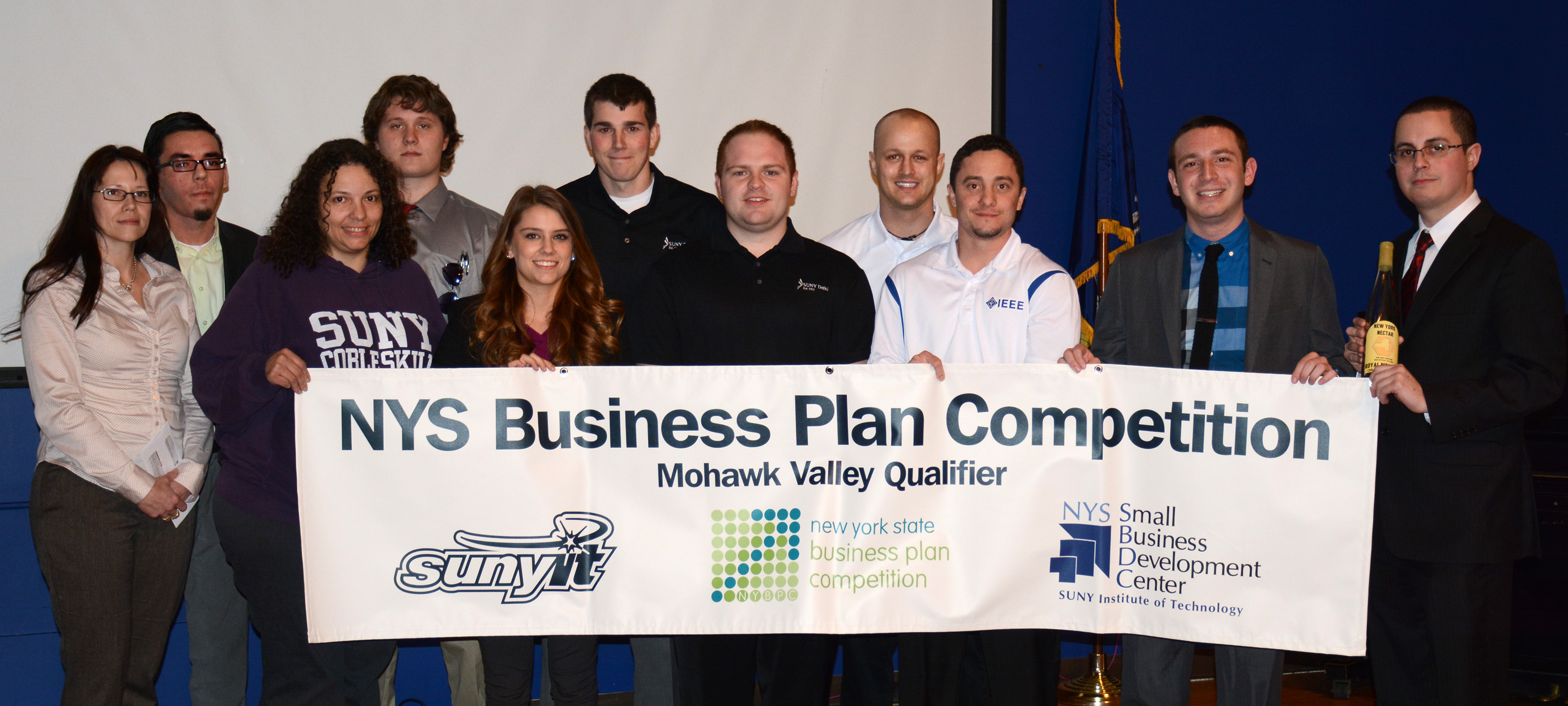 Sam Matlick '17, far right, with other contestants in the SUNY IT Business Plan Competition.