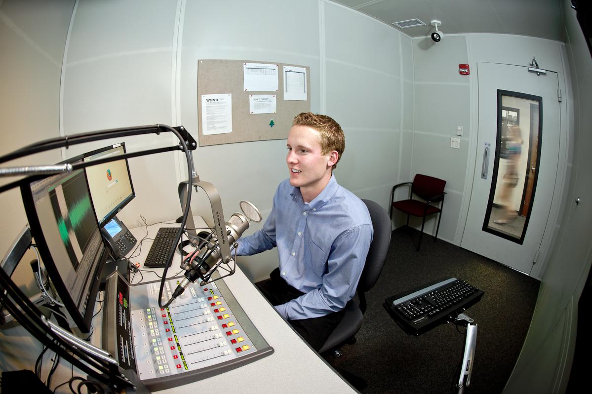 Reid Swartz '15 in the WRVO studio.