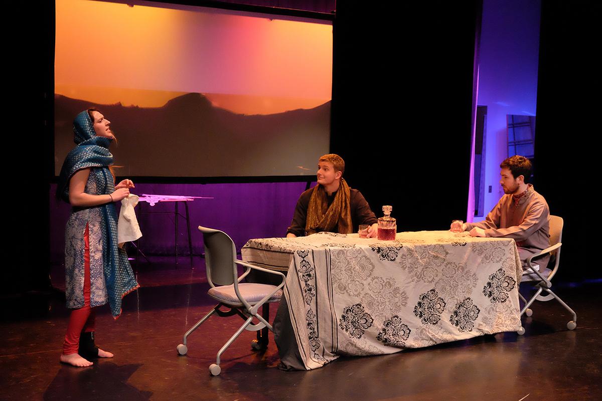 Mackenzie Bettman '18, Ryan Cassidy '17 and Michael Gagnon '16 perform in Moliere's <em>Tartuffe</em>.