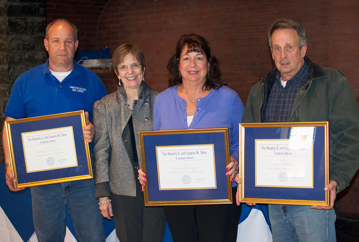 President Joan Hinde Stewart presented Tobin Awards to Rich Alexander, Patty Gogola and Jim Burns at the 2016 employee service recognition luncheon on May 16.