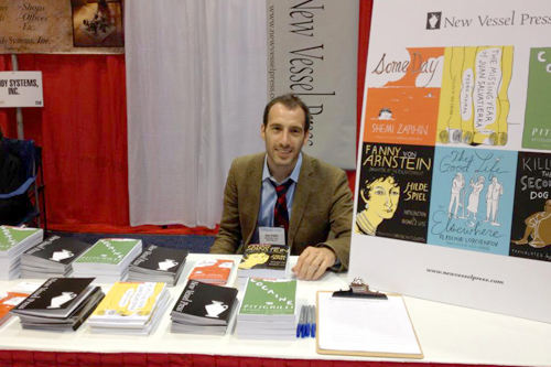 Ross Ufberg '07 and wares from his publishing firm.