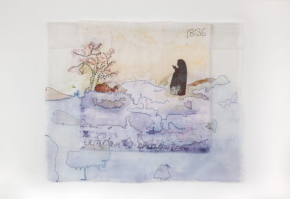 Karen Hampton's <em>under a shade tree</em>, 2010. Silk organza, linen, pigment dye, and hand-stitching. 24¾ × 30¼ in. (62.9 × 76.8 cm). Courtesy of the artist.
