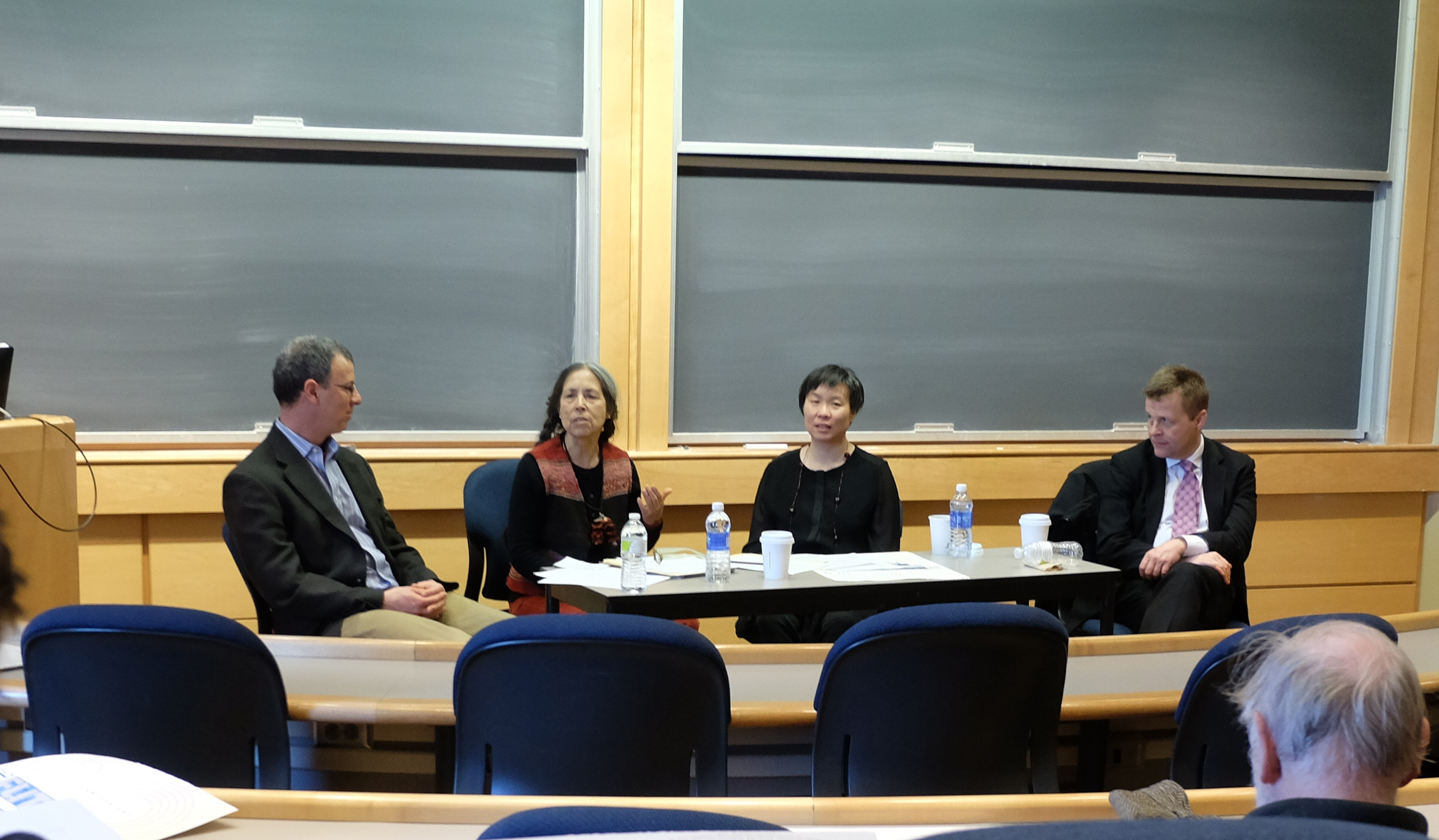 From left moderator Visiting Assistant Professor of English and Creative Writing Benj Widiss and International Festival Writers Cecilia Vicuña, Larissa Lai and Christian Bök.