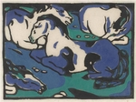 In 2011, the last important print acquisition hand-picked by Barry was Resting Horses, a wonderful woodcut with such intense colors by Franz Marc.