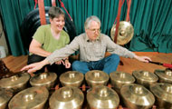 Lydia Hamessley and Brian Collett practicing the gamelan